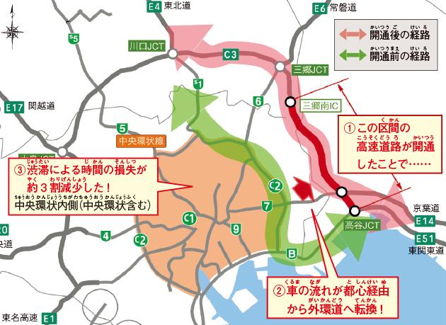 東京外環自動車道の開通前後の経路と渋滞状況の変化