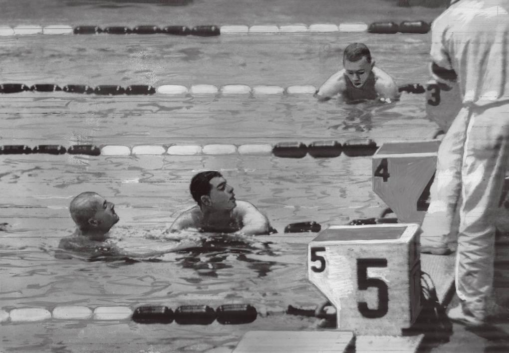 どちらが勝ったのかわからず記録係を見るラーソン選手(左)とデビット選手