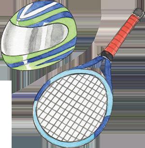 ヘルメットやラケットには熱硬化転写紙が使われているよ