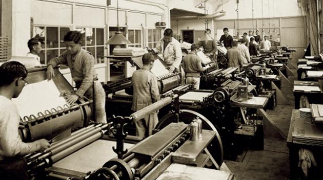 昭和10年の転写紙の工場の様子