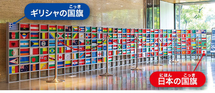 IOC(国際オリンピック委員会)に加盟している206の国や地域の国旗と地域旗