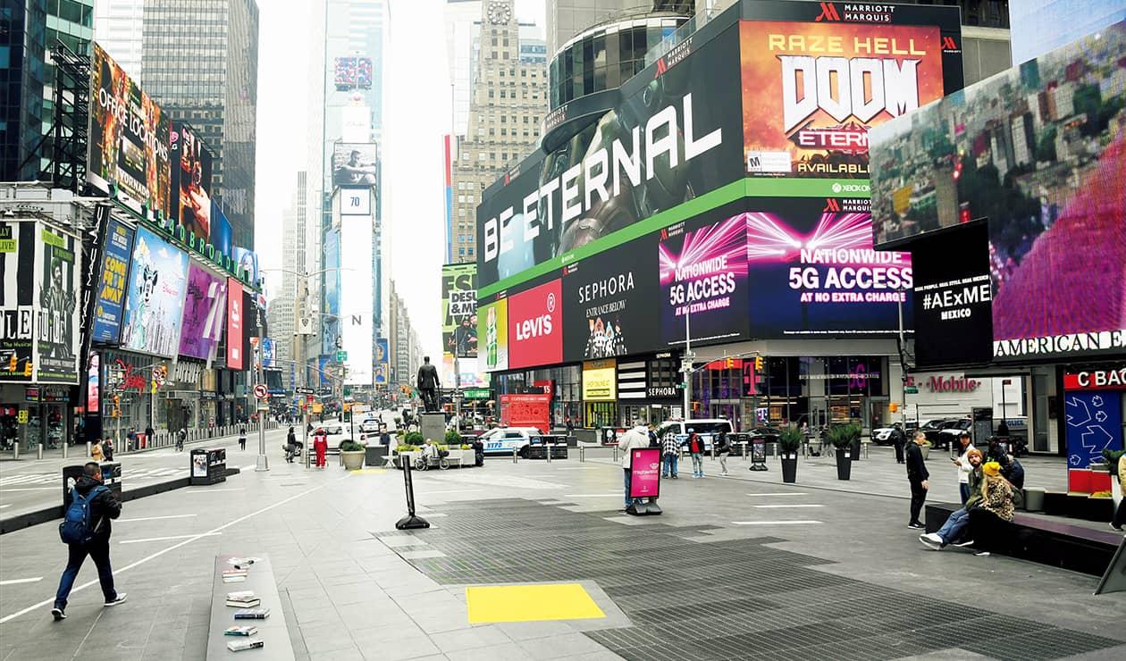 いつもは観光客でにぎわっていたタイムズスクエア