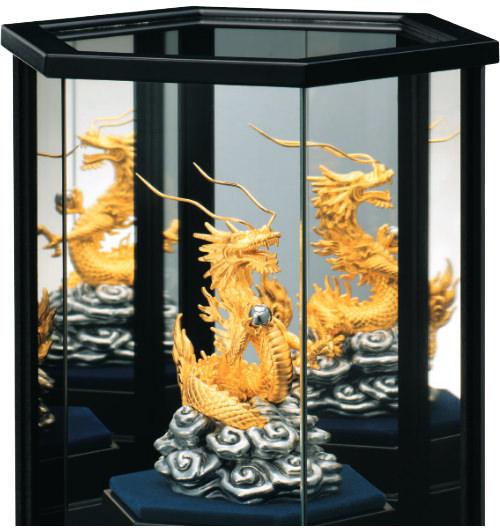 純金置物 「瑞雲昇龍」