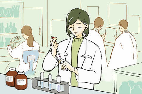 朝、出勤すると実験室で実験を始めます。その日に行う研究の内容を確かめて、実験に取りかかります。