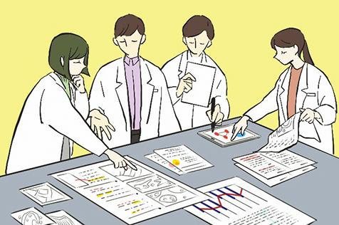 実験結果を解析します。実験は、必ず思ったとおりの結果になるとは限りません。でも、失敗も貴重な情報。なぜそうなったのかを調べて、翌日の実験計画を立てます。