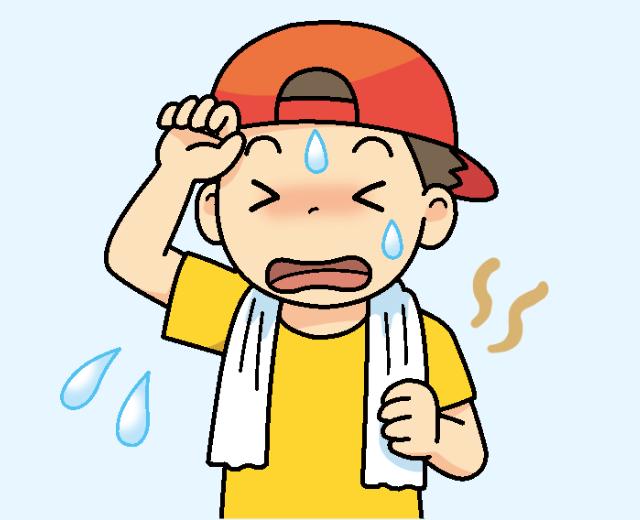 汗をかいている人