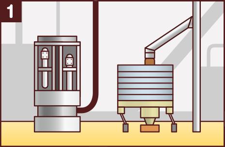 製粉:スパイスとハーブを機械で粉にしてふるいにかけ、大きさを整えます。