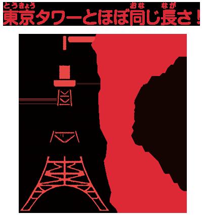 東京タワーとほぼ同じ長さ!
