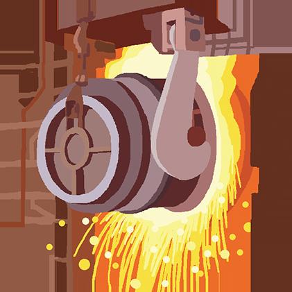 日本の製鉄所で鉄鋼製品を作る