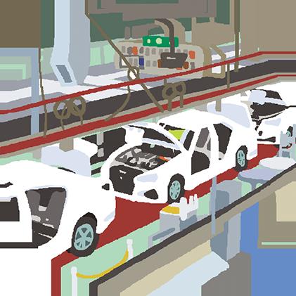 海外の工場で、車や機械に加工されるよ
