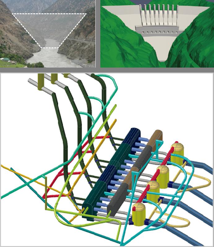 ダス水力発電所の地下につくられる発電施設を含む構造物の図