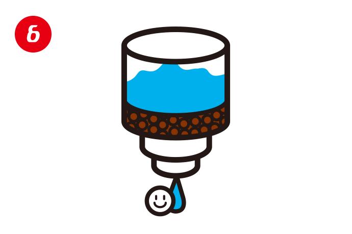 結晶を温水で溶かしろ過すると無色透明な液体になります。