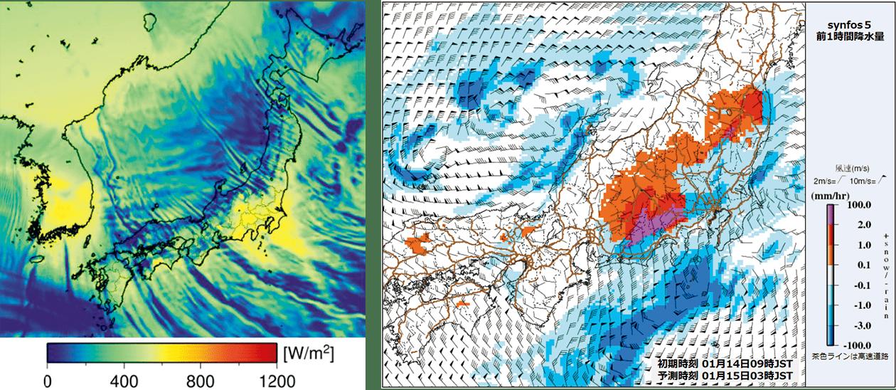 1㎞間隔の日射量予測(左)と、降雪量・雨量予測(右)